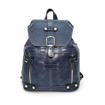 синий кожаный рюкзак «моник» (серебряная фурнитура)