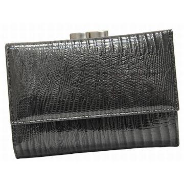 женский кошелек из натуральной кожи 0-35/2С-77 л сер/черн