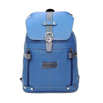 кожаный рюкзак женский голубой «незабудка»