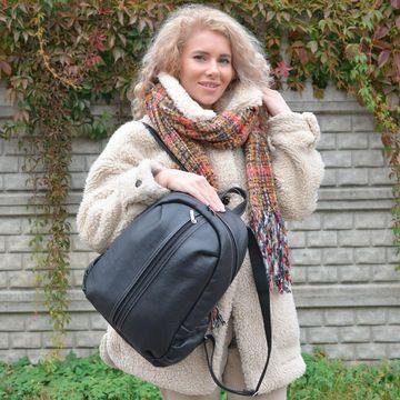 черный кожаный рюкзак «городской» формат а4