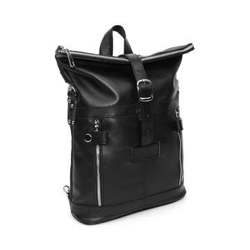 черная кожаная сумка-рюкзак «делия» формат а4