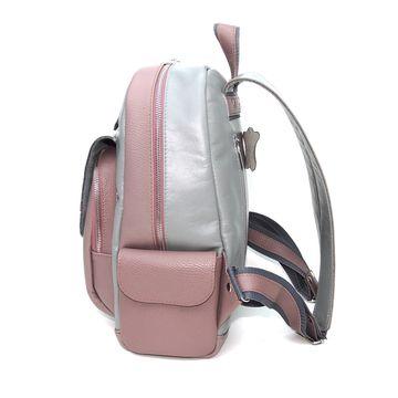 серый кожаный рюкзак «космо» формат а4