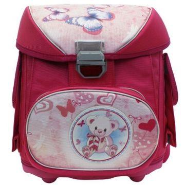 школьный ранец для девочки с мишкой и бабочками