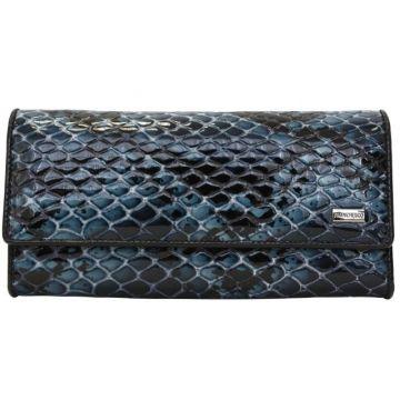 женский кожаный кошелек (синий) 0-551-49 л кр син