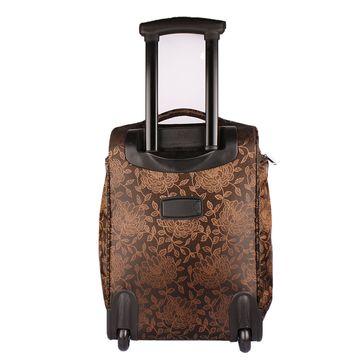 текстильный чемодан на 2 колесах (цветы коричневые)