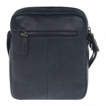 мужская сумка через плечо кожаная (чёрная)