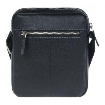 мужская сумка-планшет через плечо кожаная (чёрная)