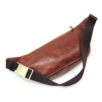 поясная сумка кожаная (светло-коричневая)