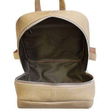 городской рюкзак из натуральной кожи (бежевый)