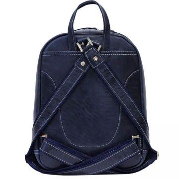 городской рюкзак из натуральной кожи (темно-синий)