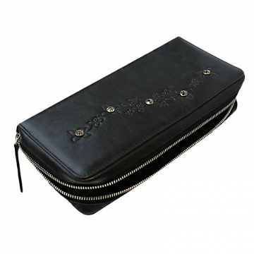 женский кошелек на молнии с кристаллами swarovski (черный)