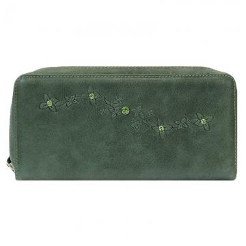 женский кошелек на молнии с кристаллами swarovski (зеленый)