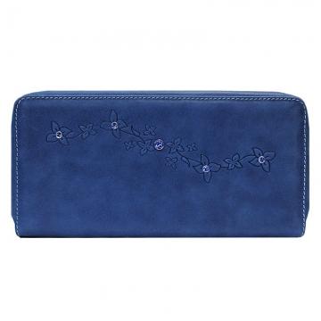женский кошелек на молнии с кристаллами swarovski (синий)