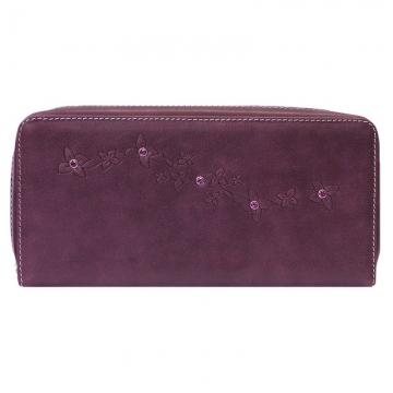 женский кошелек на молнии с кристаллами swarovski (фиолетовый)