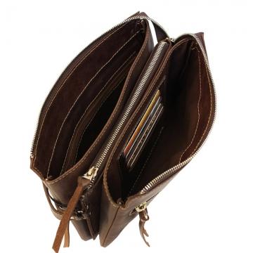 мужская сумка-клатч из натуральной кожи (коричневая)