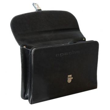 портфель деловой кожаный (черный)
