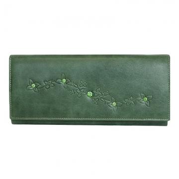 женский кошелек с кристаллами swarovski мэри (зелёный)