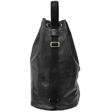 мужская сумка мешок из натуральной кожи (черная)
