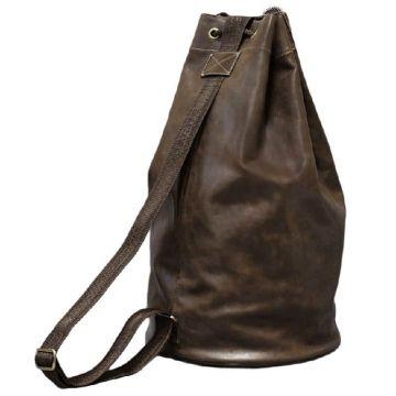 мужская сумка мешок из натуральной кожи (коричневая)
