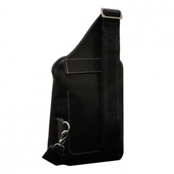 сумка мужская нагрудная из натуральной кожи (чёрная)