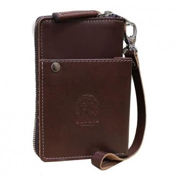 Мужской кожаный кошелек на молнии коричневый
