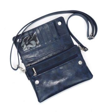 сумка женская с 5 отделениями кожаная c тиснением (синяя)