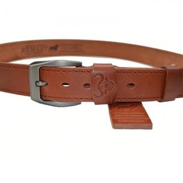 Ремень со строчкой из натуральной кожи буйвола (светло-коричневый)