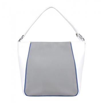 женская сумка кожаная с одной ручкой (серо-белая)