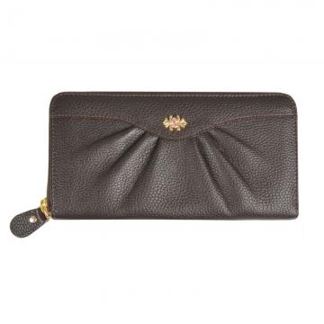 женский кожаный кошелёк на молнии (коричневый)