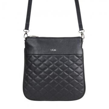 сумка-планшет женская кожаная через плечо (чёрная)