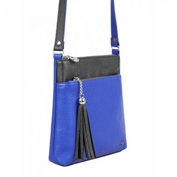 женская сумка через плечо кожаная (ярко синяя)