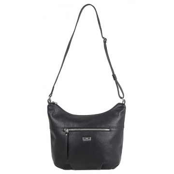 средняя женская сумка через плечо кожаная (черная)
