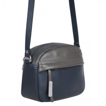 женская сумка кожаная через плечо (синяя)