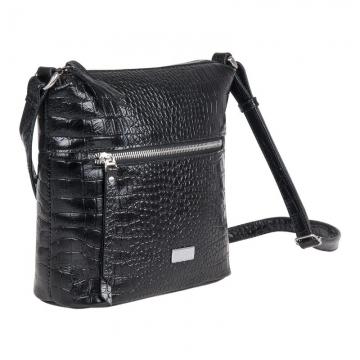 женская сумка кожаная через плечо (чёрная)