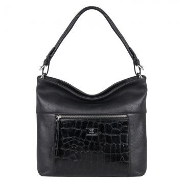сумка женская кожаная с 2 отделениями (чёрная)