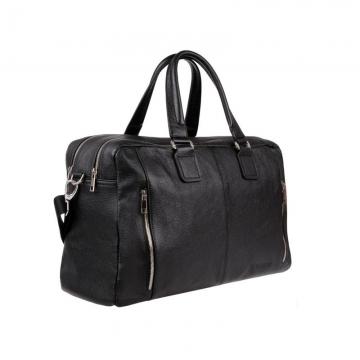 большая мужская сумка из натуральной кожи с двумя молниями