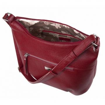 женская сумка кожаная через плечо (гранатовая)