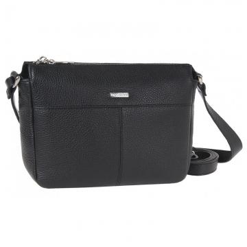 женская сумочка через плечо кожаная (черная)