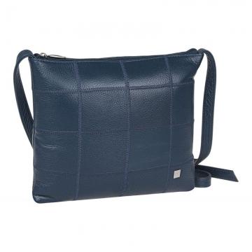 сумка женская через плечо из натуральной кожи (темно-синяя)