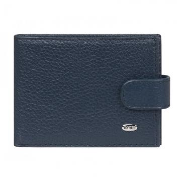 мужской кожаный кошелек (темно-синий)