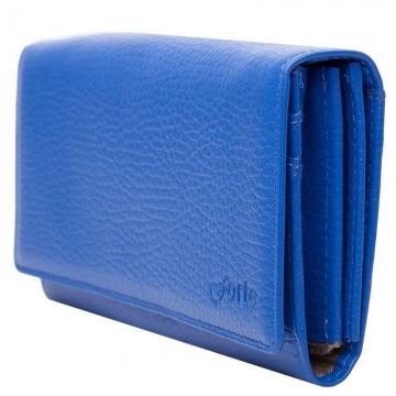 женский кожаный кошелек (синий)
