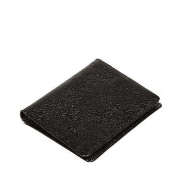кошелек из натуральной кожи с зажимом для купюр (черный)