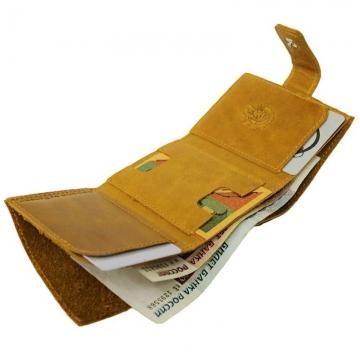 маленький кошелек кожаный без монетника (желтый)