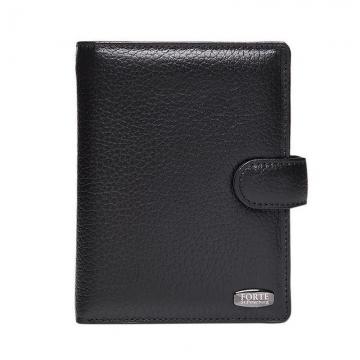 мужское портмоне с автодокументами и паспортом из натуральной кожи (черное)