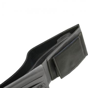 мужской кошелек из натуральной кожи (черно-серый)