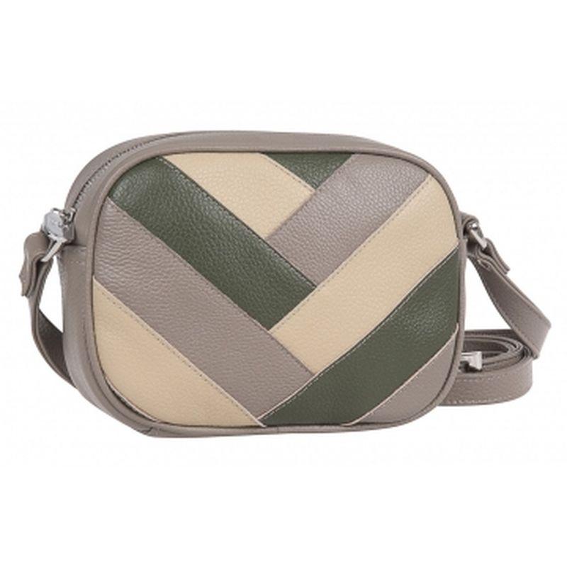 женская сумка кожаная 1-4150к-007 капучино+хаки+песок