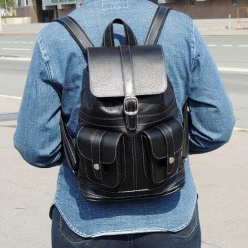 городской рюкзак из натуральной кожи (чёрный)