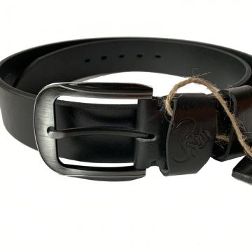 широкий ремень из натуральной кожи буйвола (черный)