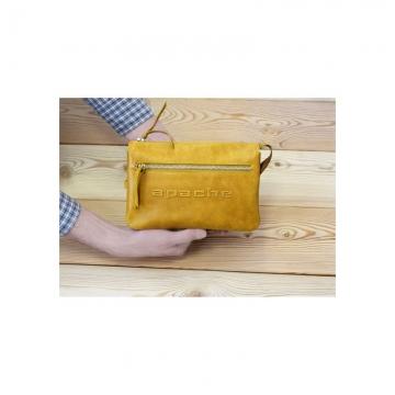 мужская сумка-клатч из натуральной кожи (табачно-желтая)