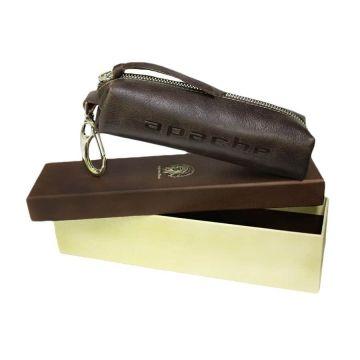 Ключница на молнии из натуральной кожи (коричневая)
